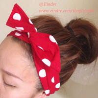 White on Red Polka Dot Dolly Bow Headband