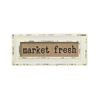 Vintage Bistro Burlap Printed Framed Wall Decor for Kitchen Dining Restaurant (Market Fresh)
