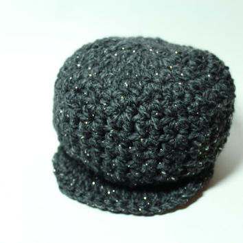 Crochet Newsboy Cap, Charcoal Gray Chunky Beanie, Women's Winter Brimmed Hat