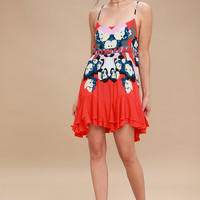 Sweet Lucy Coral Red Print Slip