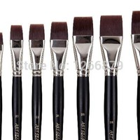 high quality paint art brushes free style oil watercolor acrylic brush 1500F taklon hair long wooden handle