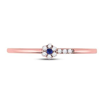 10kt Rose Gold Round Blue Sapphire Diamond Stackable Band Ring 1/12 Cttw
