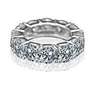 7 CT TW(5.5mm) intensely Radiant Round Diamond Veneer Cubic Zirconia Sterling silver prong Set all Around Classic Eternity Band Ring. 635R110