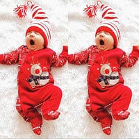 Christmas Baby Boy Girl Romper Newborn Baby Clothes Xmas Infant Baby Rompers Jumpsuit Hat Baby Clothes Overalls For Children