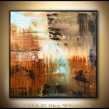 Original Abstract Framed Painting Large Modern Contemporary Textured Square Oil Painting Earth Tones Abstract Art High Gloss 37x37