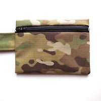 Camo Wallet Multicam Zipper Pouch Camouflage Small Bag USA Made OCP Brown Tab