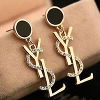 8DESS YSL Women Fashion Diamonds Stud Earring Jewelry