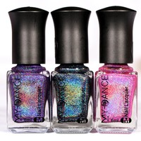 15 colors 6ML MYDANCE Holographic Holo Glitter Nail Polish Varnish Hologram Effect 6ml Manicure Nail Art Varnish