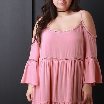 Cold Shoulder Bell Sleeve Babydoll Tier Top