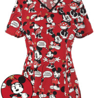 Cherokee Tooniforms Think Minnie Print Scrub Top | Disney Print Scrubs
