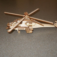 Small Apache helicopter model plywood laser cut model