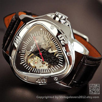 Mens Steampunk Leather Automatic Sports Watch - Birthday Gifts for Him  (WAT0111-BLACK)