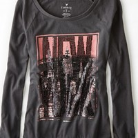 AEO Women's New York Graphic T-shirt (Ebony Grey)