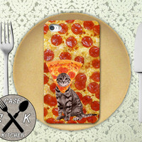 Pizza Cat With A Pizza Hat Funny Pattern Tumlbr Inspired Custom Rubber Tough Phone Case For The iPhone 4 and 4s and iPhone 5 and 5s and 5c