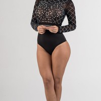 Black Rhinestone Sheer Mesh Bodysuit