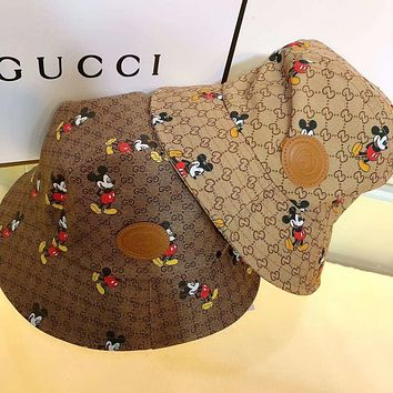 """Gucci"" Unisex Fashion Retro Mickey Mouse  Letter Print Bucket Fisherman Cap Couple Casual Sun Hat"