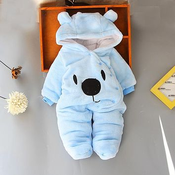 Baby Clothing Fall Winter Thick Warm Hot Newborns Romper Cute Bear Hooded Footed Flannel Infant Boys Girls Jumpsuits