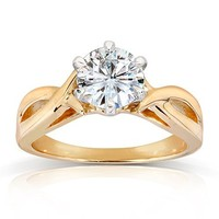 1/4cttw Diamond Engagement Ring Bridal Ring 10K Yellow Gold Halo Style 8mm New(0.25cttw)