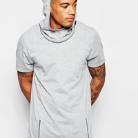 ASOS Longline T-Shirt With Zip Off Hood