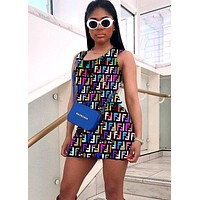 Fendi sexy women's sleeveless strap digital print dress #2
