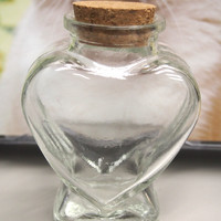 Mini Glass Jar Favors Corked Bottle, 3-1/4-inch, Heart