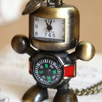 Robot with love Compass vintage style watch by qizhouhuang on Etsy