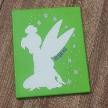 """Hand Painted Canvas - Disney Silhouette - Tinkerbell """"Believe"""""""