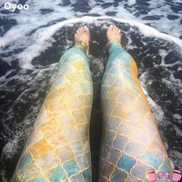 Mermaid Scale Workout Leggings For Adults | Activewear