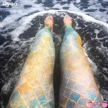 Mermaid Scale Workout Leggings For Adults   Activewear