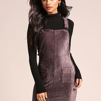 Mocha Ribbed Velvet Overalls Dress