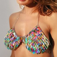 Star Power Chain Bra- Multicolored