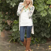 Aztec Hooded Open Cardigan