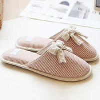 Stripe Pattern Bow Round Toe Slippers