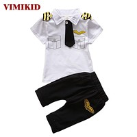 Clothes suits children baby boys clothing sets cotton kids tie gentleman outfits short sleeve tops t shirt