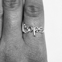 Wire Hope Ring - Word Ring - Cursive Wire Ring - Name Ring - Stacking Ring - Hope Jewelry