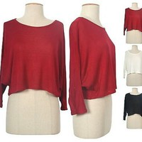 Casual Solid Round Neck Dolman Long Sleeve Cropped Knit Shirt Top Loose Fit