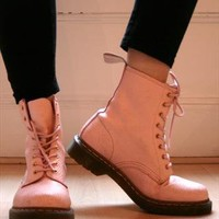 Light Pink Dr Martens Airwair Leather Boots from phansen007