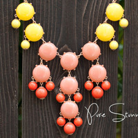J Crew Bubble Necklace Inspired  Yellow and Coral  by PureStunning