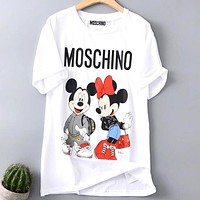 Moschino 2019 new men's and women's loose round neck short-sleeved T-shirt white