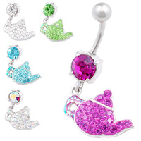 Pretty Teapot Dangle Crystal Belly Button Ring [Gauge: 14G - 1.6mm / Length: 10mm] 316L Surgical Steel & Crystal For Girls  (Various Crystal...
