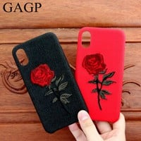 Embroidery Rose Case For iPhone 7 6S 6 Plus X 10 Pretty Cover Snake Flower Coque For iPhone 8 Plus Case For iPhone X 7 Plus Case