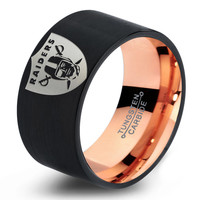 Oakland Raiders Ring Mens Fanatic NFL Sports Football Boys Girls Womens NFL Jewelry Fathers Day Gift Tungsten Carbide 360-R