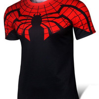 Spider-Man Pattern Color Block Short Sleeve T-Shirt