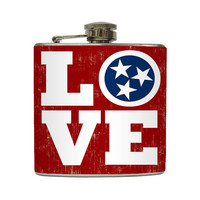 Tennessee Whiskey Flask Love TN Country Music City Nashville Bridal Party Gift Stainless Steel 6 oz Liquor Hip Flask LC-1273