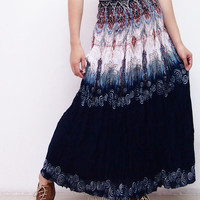 Hippie Boho Flowers Skirts / Maxi Comfy Wide Skirts / Beach Long Skirts / Long Casual Skirts (Navy)