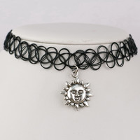 Black Plastic Choker with Sun