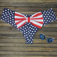 Blue Star Print with Striped Bow Knot Bottom