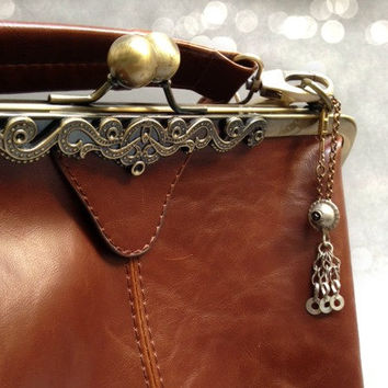Bag / Purse Charm. Handmade Accesory. Afghan Tribal Dangle Pendant. Metal Purse Charm. Brass Chain. Key Chain. Ethnic Tribal Boho Chic.