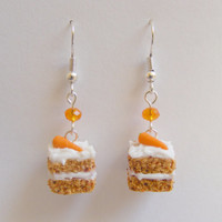 Food Jewelry Carrot and Walnut Cake Slice Miniature Food Earrings -Miniature Food Jewelry,Handmade Jewelry,Mini Food Earrings,Kawaii Jewelry