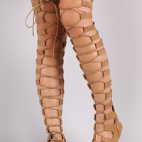 Strappy Snake Lace-Up Thigh High Gladiator Flat Sandal